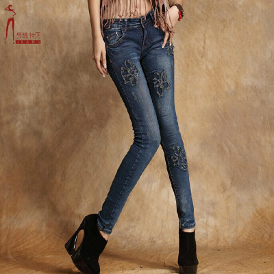 Exotic, DC Ms. embroidered stretch jeans female feet were thin pencil pants female jeans personality tide son