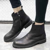 切尔西靴男鞋秋冬英伦复古黑色马丁靴真皮高帮圆头加绒韩版短靴潮