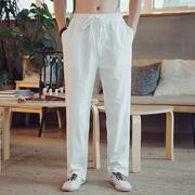 秋冬唐装男裤白色棉麻长裤复古宽松裤中式松紧腰禅修服麻裤