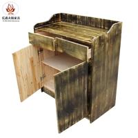青色做旧实木备餐台 火锅实木调味台 水酒柜厂家直销可定制颜色
