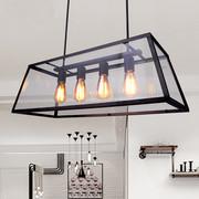 美式乡村后现代简约创意爱迪生工业风铁艺复古方形四头玻璃箱吊灯