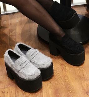 日系amo软妹原宿朋克风防水台单鞋超高跟松糕厚底粗跟鞋骑士短靴