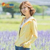 台湾uv100户外长袖护指防晒服女夏天防紫外线连帽防晒衣外套61005