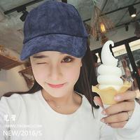 【刚刚好】韩国棒球帽韩版新简约竖条纹百搭纯色灯芯绒鸭舌帽女潮