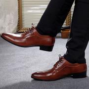 冬季棕色皮鞋男英伦潮流青年商务正装尖头系带真皮新郎内增高