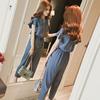 夏季女装荷叶边高腰显瘦雪纺上衣花边T恤原宿垂感学生宽松两件套