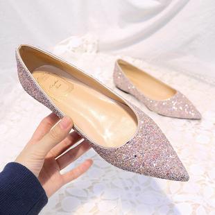 婚鞋亮片平底鞋女 尖头单鞋平跟浅口金粉色新娘伴娘鞋宴会鞋