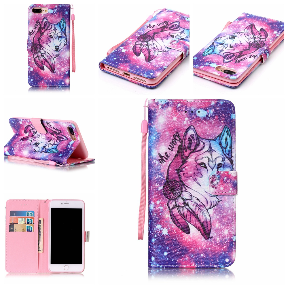 wolf pattern cover wallet leather flip for iphone 7 7plus套