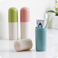 便携式旅行牙刷盒洗漱牙刷筒创意拼色带盖牙膏牙刷桶收纳盒牙具盒