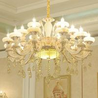 欧式锌合金玉石水晶吊灯奢华客厅灯现代卧室led餐厅大气简欧灯具