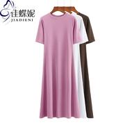 夏季圆领显瘦短袖长款连衣裙纯棉纯色简约女装