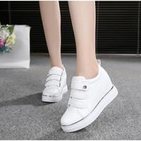 秋季新款韩版真皮魔术贴懒人鞋内增高单鞋女厚底松糕鞋12CM超高跟