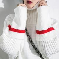 2016秋冬新款原创品牌精品女装毛衣F2800 中长款针织衫堆堆领套头