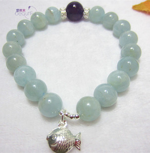 Beautiful 原创海蓝宝手链 天然水晶  手串 闺蜜送礼 正能量石