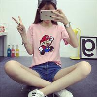 夏季新款圆领卡通刺绣百搭休闲短袖T恤女