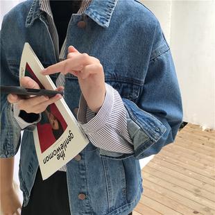阿一复刻90年代 2018牛仔外套女 长袖学生短夹克外套