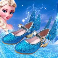 女童皮鞋公主鞋2016新款春秋季小孩子高跟单鞋蓝色亮片儿童水晶鞋
