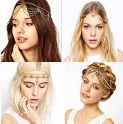 欧美风复古波西米亚个性头链珠子珍珠吊坠水晶发带发箍头饰发饰女