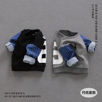 新款0-1-3岁婴儿卫衣男童秋装韩版纯棉拼接休闲套头宝宝卫衣女潮