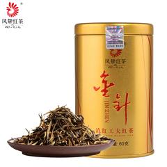 凤牌红茶 茶叶 云南金丝滇红金针金芽茶工夫红茶60g罐装 2018新茶