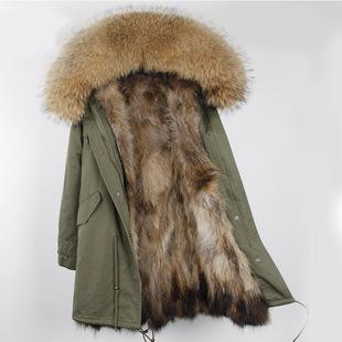 冬季貉子毛皮草外套中长款派克服可拆卸大毛领毛皮大衣女加厚