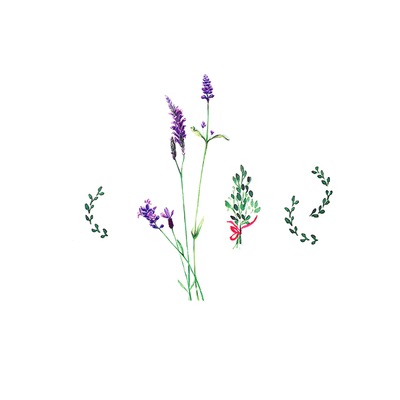 「猫啊鱼啊」纹身贴 薰衣草 花朵花卉 植物绿叶草 紫色 唯美浪漫