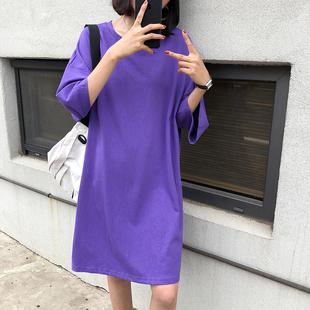 A7seven纯色圆领中长款大版T恤女夏季2018宽松显瘦大码连衣裙