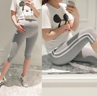 特价韩国孕妇装夏季新托腹裤修身运动裤条纹孕妇打底裤七分M009
