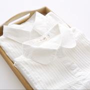 2019春装娃娃领纯棉白色衬衫女长袖学生宽松百搭内搭打底衬衣
