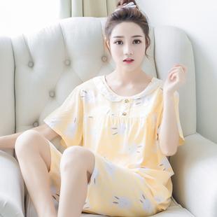 夏睡衣女短袖棉绸两件套套装可爱卡通人造棉大码家居服绵绸睡衣女
