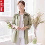 韩国中老年女装夏装外套大码妈妈装刺绣七分袖夹克宽松版JK