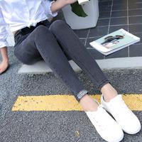 秋冬季新款灰色牛仔裤女小脚长裤修身显瘦紧身弹力铅笔裤韩版潮女