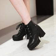 高跟马丁靴女英伦风大码女靴春秋单靴粗跟短靴防水台厚底短筒女鞋