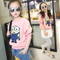 女童春装新款长袖卫衣纯棉 5-7-9-11岁中大童卡通上衣儿童套头衫