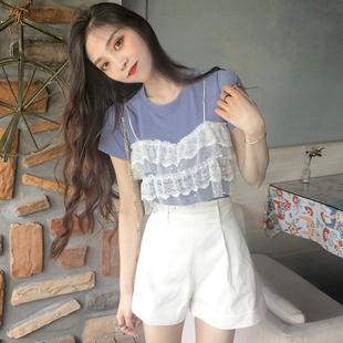 夏季女装蕾丝拼接假两件上衣圆领短袖针织针织衫百搭T恤