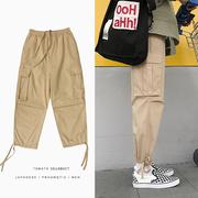 多口袋工装裤男士宽松直筒嘻哈长裤束脚裤潮流男裤子