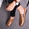 劳斯贝尔头层牛皮透气皮鞋男士春季真皮豆豆鞋软底软皮潮鞋子