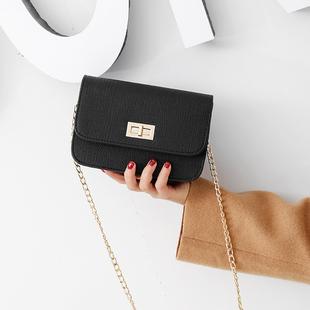 包包2019chic链条小方包单肩斜挎包时尚锁扣女包迷你小包