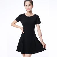 【天天特价】酒红色短袖雪纺A字裙修身黑色打底裙大码小黑裙