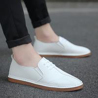 夏季韩版豆豆小白鞋皮鞋白板鞋男鞋百搭潮流布鞋潮鞋学生休闲白鞋