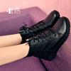 加绒女鞋短靴大码靴子女40-43英伦厚底平底女靴41-43百搭马丁靴冬