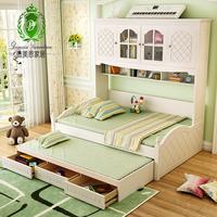 儿童床公主床衣柜床多功能组合床男孩女孩双层床子母床储物床实木