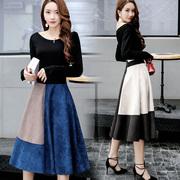时尚套装2017秋冬鹿皮绒套裙中长款两件套连衣裙女潮