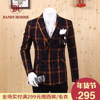 春秋新款英伦双排扣西服男青年韩版修身格子小西装外套婚纱照礼服