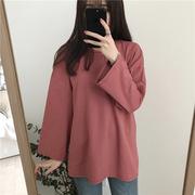 纯色长袖T恤女秋冬宽松百搭显瘦打底衫中长款学生上衣