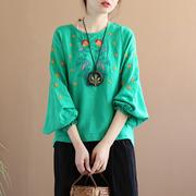 代勒原创中国风刺绣泡泡袖T恤女士民族风复古文艺七分袖棉麻上衣