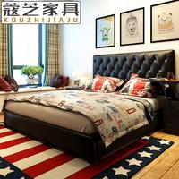 黑色皮床真皮床小户型皮艺床1.5米双人床1.8米大床2米2.2米主卧床