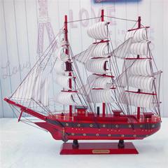 一帆风顺帆船模型摆件 实木纯手工仿真工艺船 家居装饰品节日送礼