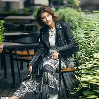 2016秋季新款海宁经典真皮机车皮衣女短款植鞣绵羊皮夹克修身外套