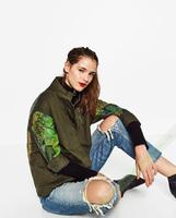 2016秋冬新款西班牙女装街头涂鸦派克女军装风衣夹克外套4043/242